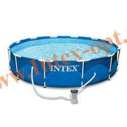 INTEX 28212(56996) Бассейн каркасный круглый 366х76 см( фильтр-насос 2 м3 + DVD инструкция)