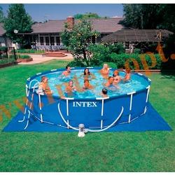 INTEX 28228 Бассейн каркасный круглый 457х84 см(фильтр-насос 2 м3, лестница, настил, тент + DVD инструкция)