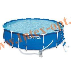 INTEX 28218(54424) Бассейн каркасный круглый 366х99 см (фильтр-насос 2м3 220В, лестница + DVD инструкция)