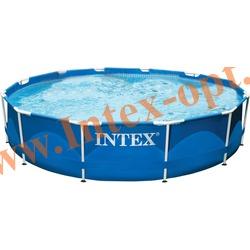 INTEX 28218(ОЕМ) Бассейн каркасный круглый 366х99 см (лестница + DVD инструкция)