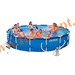 INTEX 28232(54942) Бассейн каркасный круглый 457х91 см(фильтр-насос 3.8 м3 220в, лестница, настил, тент + DVD инструкция)