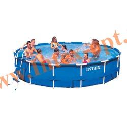 INTEX 28232(ОЕМ) Бассейн каркасный круглый 457х91 см (лестница, настил, тент + DVD инструкция)