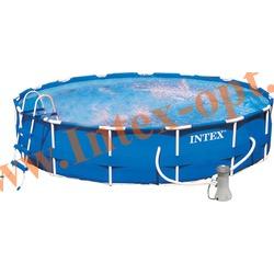 INTEX 56949 Бассейн каркасный круглый 457х107 см(фильтр-насос 3.8 м3 220в, лестница, настил, тент, набор для чистки, скиммер + DVD инструкция)