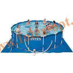 INTEX 56946 Бассейн каркасный круглый 457х122 см(фильтр-насос 3.8 м3 220в, лестница, настил, тент, набор для чистки, скиммер + DVD инструкция)