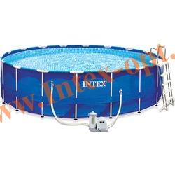 INTEX 56952 Бассейн каркасный круглый 549х122 см(фильтр-насос 5.7 м3 220в, лестница, настил, тент, набор для чистки, скиммер, волейбольная сетка + DVD инструкция)