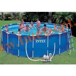 INTEX 57954 Бассейн каркасный круглый 549х122 см (фильтр-насос 5.7 м3/ч 220 В+ хлор-генератор, лестница, настил, тент,+DVD инструкция)