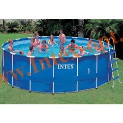 INTEX 28252(OEM) Бассейн каркасный круглый 549х122 см( лестница, настил, тент + DVD инструкция)