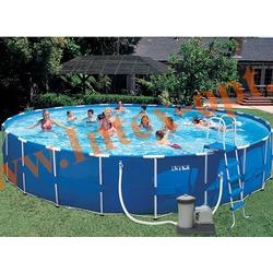 INTEX 57966 Бассейн каркасный круглый 732х132 см(фильтр-насос 9.5 м3 220в, лестница, настил, тент, набор для чистки, скиммер, волейбольная сетка + DVD инструкция)