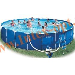 INTEX 54948 Бассейн каркасный круглый 732х132 см( Песочный фильтр-насос 10 м3 220в, лестница, настил, тент, набор для чистки, скиммер, волейбольная сетка + DVD инструкция)