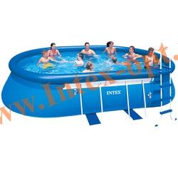 INTEX 28192(OEM) Бассейн овальный надувной с металлическим каркасом 549х305х107 см( лестница, настил, тент + DVD инструкция)