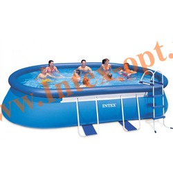 INTEX 28194(OEM) Бассейн овальный надувной с металлическим каркасом 610х366х122 см ( лестница, настил, тент + DVD инструкция)