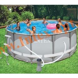 INTEX 28310 Бассейн каркасный круглый ULTRA FRAME 427х107 см ( фильтр-насос 3.8 м3 220в, лестница, настил, тент + DVD инструкция)