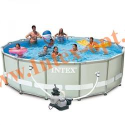 INTEX 28324(54924) Бассейн каркасный круглый ULTRA FRAME 488х122 см ( Песочный фильтр-насос 4.5 м3 220в, лестница, настил, тент + DVD инструкция)