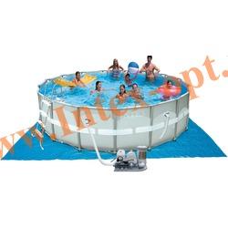 INTEX 28328(28326/54470) Бассейн каркасный круглый ULTRA FRAME 488х122 см (фильтр-насос 4.5 м3 220в + хлор-генератор, лестница, настил, тент, набор для чистки, скиммер + DVD инструкция)