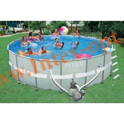 INTEX 28332(54926) Бассейн каркасный круглый ULTRA FRAME 549х132 см (Песочный фильтр-насос 7.9 м3 220в, лестница, настил, тент + DVD инструкция)