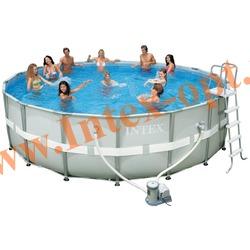 INTEX 54456 Бассейн каркасный круглый ULTRA FRAME 549х132 см (Фильтр-насос 9,5 м3 220в, лестница, настил, тент, набор для чистки DELUXE, скиммер, волейбольная сетка + DVD инструкция)
