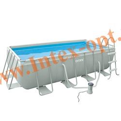 INTEX 28350(54182) Бассейн каркасный прямоугольный ULTRA FRAME 400х200х100 см (фильтр-насос 2 м3 220в, лестница + DVD инструкция)