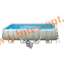 INTEX 28352(54982) Бассейн каркасный прямоугольный ULTRA FRAME 549х274х132 см (Песочный фильтр-насос 4.5 м3 220в, лестница, настил, тент + DVD инструкция)