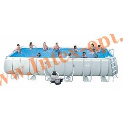 INTEX 28362(54984) Бассейн каркасный прямоугольный ULTRA FRAME 732х366х132 см (Песочный фильтр-насос 7.9 м3 220в, лестница, настил, тент + DVD инструкция)