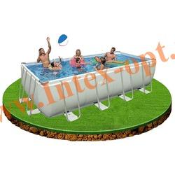 INTEX 28362/28366(OEM) Бассейн каркасный прямоугольный ULTRA FRAME 732х366х132 см (лестница, настил, тент + DVD инструкция)