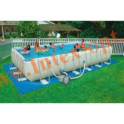 INTEX 28366(28364/54980) Бассейн каркасный прямоугольный ULTRA FRAME 732х366х132 см (песочный фильтр-насос 6 м3 220в + хлор-генератор, лестница, настил, тент, набор для чистки DELUXE, скиммер, волейбольная сетка + DVD инструкция)