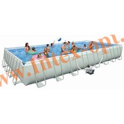 INTEX 54986 Бассейн каркасный прямоугольный ULTRA FRAME 975х488х132 см (песочный фильтр-насос 10 м3 220в, лестница, настил, тент, набор для чистки DELUXE, скиммер, волейбольная сетка + DVD инструкция)
