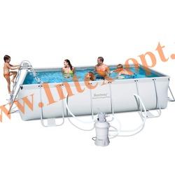 BestWay 56244 Бассейн каркасный прямоугольный 412х201х122 см (песочный фильтр-насос 2 м3 220в, лестница + DVD инструкция)
