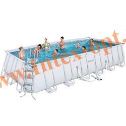 BestWay 56272 Бассейн каркасный прямоугольный 671х366х132 см (картриджный фильтр-насос 5.6 м3 220в, лестница, настил, тент + DVD инструкция)