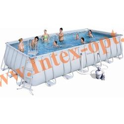 BestWay 56278 Бассейн каркасный прямоугольный 671х366х132 см (песочный фильтр-насос 5.6 м3 220в, лестница, настил, тент + DVD инструкция)