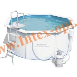 BestWay 56574 Бассейн со стальными стенками морозоустойчивый 366х122 см (песочный фильтр-насос 2 м3 220в, лестница, настил, скиммер + DVD инструкция)
