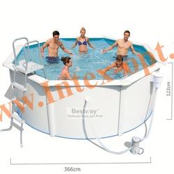 BestWay 56563 Бассейн со стальными стенками морозоустойчивый 305х122 см (картриджный фильтр-насос 2 м3 220в, лестница, настил, скиммер + DVD инструкция)