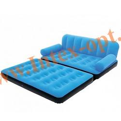 BestWay 67356 Голубая двуспальная надувная кровать-трансформер 188х152х64см