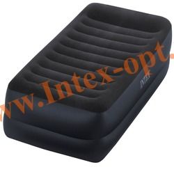 INTEX 64422 Односпальная надувная кровать с подголовником 99х191х42 (с встроенным электрическим насосом 220В)