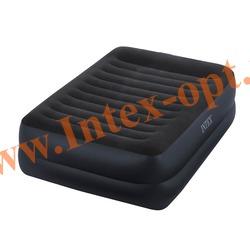 INTEX 64424 Двуспальная надувная кровать с подголовником 152х203х42см (со встроенным насосом 220В)