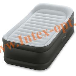 INTEX 64432 Односпальная надувная кровать с подголовником 99х191х42 (со встроенным электрическим насосом 220 В)