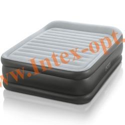 INTEX 64436 Двуспальная надувная кровать с подголовником 152х203х42см (со встроенным электрическим насосом 220В)