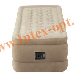 INTEX 64456 Односпальная надувная кровать 99х191х46 (со встроенным насосом 220В)