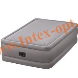 INTEX 64468 Двуспальная надувная кровать Foam Top Bed 152х203х51см (со встроенным насосом 220В)
