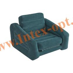 INTEX 68565 Надувное кресло-кровать Pull-Out Chair 107х221х66 см(без насоса)изумрудное