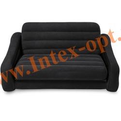 INTEX 68566 Двухместный надувной диван-трансформер Pull-Out Sofa 193х221х66 см (без насоса)черный