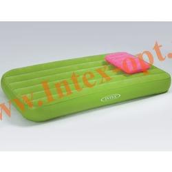 INTEX 66801 Детский односпальный надувной матрас(матрац) Cozy Kidz Airbed 88х157х18 см(без насоса)зелёный
