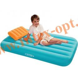 INTEX 66801 Детский односпальный надувной матрас(матрац) Cozy Kidz Airbed 88х157х18 см(без насоса)голубой