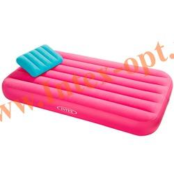 INTEX 66801 Детский односпальный надувной матрас(матрац) Cozy Kidz Airbed 88х157х18 см(без насоса)розовый