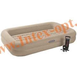 INTEX 66810 Детский односпальный надувной матрас Kidz Travel Bed Set 107х168х25 см (ручной насос)