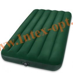 INTEX 66967 Односпальный надувной матрас Prestige Downy Bed 99х191х22 см (внешний электрический насос на батарейках)