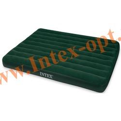 INTEX 66969 Двуспальный надувной матрас Prestige Downy Bed 152х203х22 см (внешний электрический насос на батарейках)