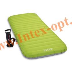 INTEX 64780 Туристический односпальный надувной матрас Roll N Go Bed 76х191х13см (ручной насос)