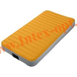 INTEX 64791 Туристический односпальный надувной матрас Super-Tough Airbed 99х191х20 см (встроенный электрический насос на батарейках)
