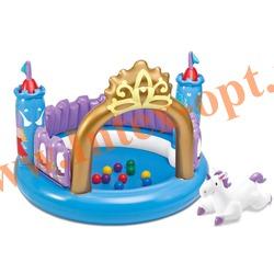 INTEX 48669 Надувной игровой центр Магический замок 130х91 см Ball Toyz Magical Castle(от 3 до 6 лет) без насоса