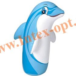 INTEX 44669 Надувная игрушка-неваляшка 3-D Bop Bags дельфин 97х61 см (от 3 лет) без насоса